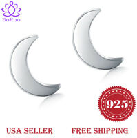 925 Sterling Silver Stud Earrings, Crescent Moon High Polish Tarnish Resistant