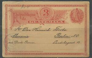 GUATEMALA OCOS 11/29/1896 3C POSTAL STATIONERY CARD TO BERLIN 12/28/96 AS SHOWN