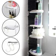 4 Tier Telescopic Adjustable Corner Bathroom Shelf Organiser Shower Caddy White