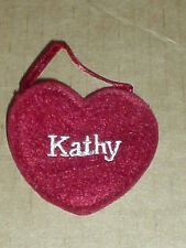 """Ganz  NEW Red Felt Name  Embroidered  """" KATHY"""" Heart  Craft Patch / Ornamen"""