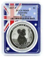 2017 P Australia 1oz Silver Koala PCGS MS69 - Flag Frame