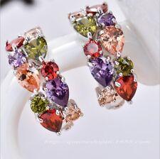 Mona Lisa Natural Amethyst Peridot Morganite Gemstone Silver Stud Hook Earrings