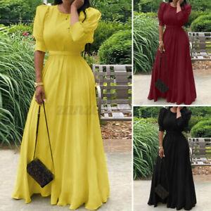 ZANZEA Damen Solid Elegant Abendkleid Kleider Bodenlänge A-Linie Partykleid Plus