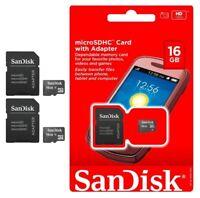 NEW SANDISK 16GB MicroSD Micro SD SDHC TF FLASH MEMORY CARD ADAPTER LOT 2