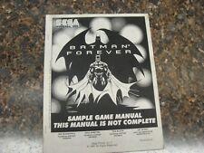 Batman Forever Pinball Machine Service Manual, Atlanta (719)