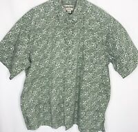 Cooke Street Hawaiian Aloha Shirt Men XL Cotton Tropical Green White Geometric