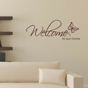 Welcome To Our Home Butterfly Vinyl Wall Art Sticker Decal Home Door Decoration