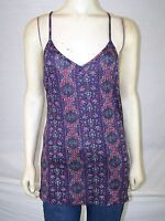 Casual Classic Blue Red Multi Spaghetti Strap Cami Top Womens Size Large 12 14