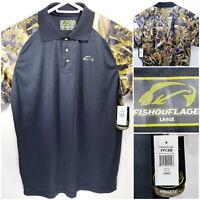 NWT Fishouflage Walleye Camo Mens Large Polo Shirt Black