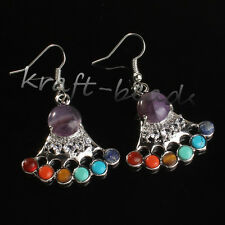 Silver Plated Crown Power 7 Stone Beads Healing Chakra Point Women's Earrings
