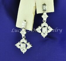 18k Solid White gold Natural Diamond dangling earring Stylish 1.35 ct baguette
