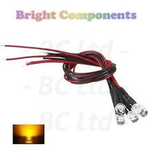 20 X pre-cablato LED GIALLO 5mm Flat Top: 9V ~ 12V: 1st Class Post