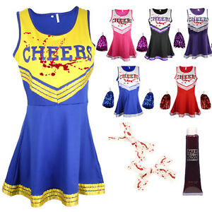 ZOMBIE CHEERLEADER HALLOWEEN FANCY DRESS OUTFIT COSTUME BLOODY BOWS & BLOOD