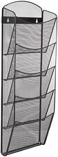 Magazine Rack Wall Mounted Basket Holder Mail Metal Mesh Black Newspaper Mount