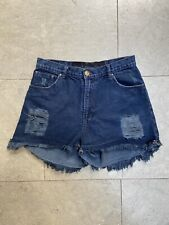 One Teaspoon Cotton Dark Denim Shorts Size UK 12