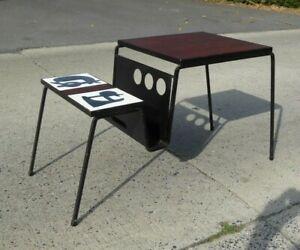 MAGAZINE RACK TABLE VINTAGE MID CENTURY CERMIC TILES TEAK DUTCH OR FRENCH RETRO