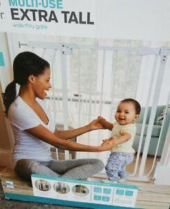 New Summer Infant Multi Use White Extra Tall Adjustable Walk-Thru Gate Steel