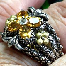 Barbara Bixby 925 18k Oval 4 Citrine Ring Size 8 - 14  Grams Fleur De Lis