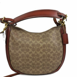 Coach Coated Canvas Signature Sutton Hobo Bag Purse Handbag, new