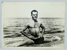 Vintage Gay Interest Photo Acrobat Man Splits on Beach Muscle Swimsuit Male Body