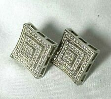 Sterling Silver Square Large Size CZ Iced Screw Back Micro Pave Earrings