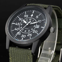 XINEW Men Military Quartz Canvas Strap Watch Auto-date Outdoor Sports Casual Mal