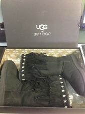"Authentic UGG & JIMMY CHOO Black Suede Sheepskin ""SORA"" Fringed  Size USA 10"
