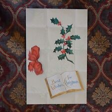 Vintage Postcard Best Wishes For Christmas, Red Bow, Holly, And Ivy