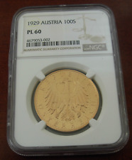 Austria 1929 Gold 100 Schilling NGC PL60 Prooflike
