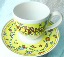 Just For Today Be Happy Mary Engelbreit Me Ink Cup & Saucer Set Yellow Floral