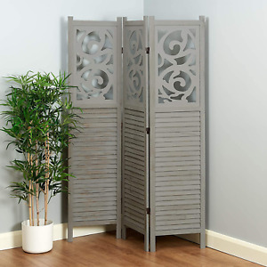 Shabby Chic Rustic Painted Finish 3 Panel Decorative Wooden Room Divider