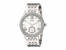 GUESS Women's U0573L1 Classic Silver-Tone Watch with Genuine Crystals
