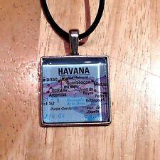 GUANABACOA ARTEMISA HAVANA CUBA Map Square Pendant Silver necklace f04 ATLAS