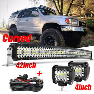 Curved 42'' LED Light Bar Roof Combo + Cube Pods Fit 95-04 Toyota 4Runner Tacoma