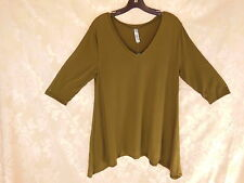 Ladies XL Maternity Top  Olive Green knit  Espresso asymmetrical hem  V neck New