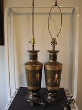 Superb Chinoiserie Lamps Hollywood Regency James Mont Era Mid Century Dance OOAK