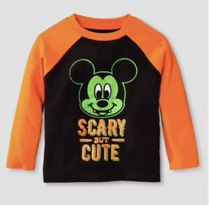 Halloween Mickey Mouse Shirt 18M Toddler Scary But Cute Baby Long Sleeve New S1