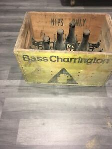 """Vintage Bass Charrington """"Nips"""" beer crate and 4 bass imperial stout full bottle"""