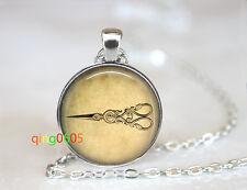 silver Chain Pendant Necklace wholesale Vintage Style scissor glass dome Tibet