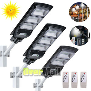 14000LM Commercial LED Solar Street Light Motion Sensor Dusk-to-Dawn+Remote+Pole