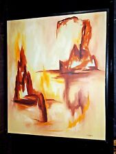 Mid-Century M.Bigelow Oil on Canvas Abstract Painting - Signed and Framed