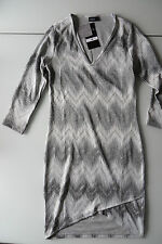JANINA Kleid 38, Etuikleid S m ETHNO Muster Zickzack, CASUAL KNIT, grau, STRETCH