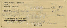 VIRGIL GUS GRISSOM Autographed Inscribed SIgned Check Document NASA Astronaut