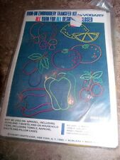 3 Vintage Vogart Iron-On Embroidery Transfer KITS WITH YARN! Fruits & Flowers