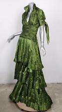 NAEEM KAHN Womens Silk Green Plunge Pleated Long Dress Evening Gown 6 NWT $6795