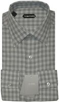 NEW TOM FORD LIGHT & DARK GRAY PLAID CHECK MENS DRESS SHIRT 44 17.5 $560