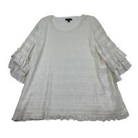 Alfani Women's Plus Cloud Textured 3/4 Ruffle Sleeve IvoryTop Size 1X