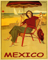 POSTER MEXICO TRAVEL SUN BEACH FASHION SAILING DANCING VINTAGE REPRO FREE S/H