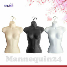 3 Mannequin Female Torsos Set ; Flesh White Black Dress Forms with 3 Hangers