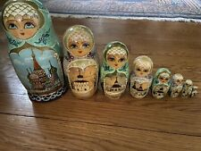 Set 8 Vintage Russian Handpainted Wooden Stacking/Nesting Dolls Marked